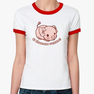 Женская футболка Ringer-T Год поросенка
