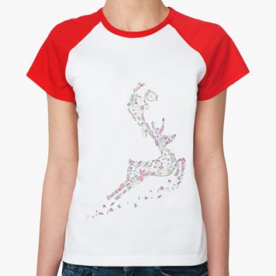 Женская футболка реглан Олень