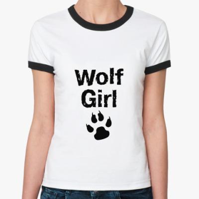 Женская футболка Ringer-T Wolf girl