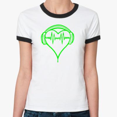Женская футболка Ringer-T Музыка в ритме сердца