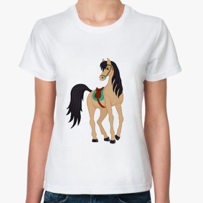 Классическая футболка cartoon buckskin horse