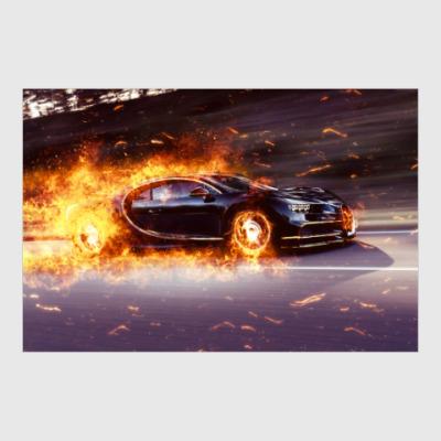 Постер Bugatti Chiron Fire