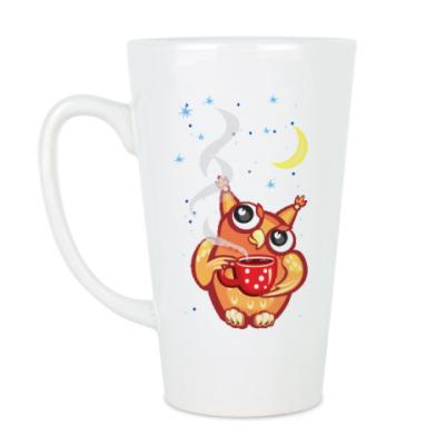 Чашка Латте Сова с чаем и снежинками