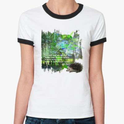 Женская футболка Ringer-T Ежик. Мимими. Дорога. Деревья. Роща. Небо.