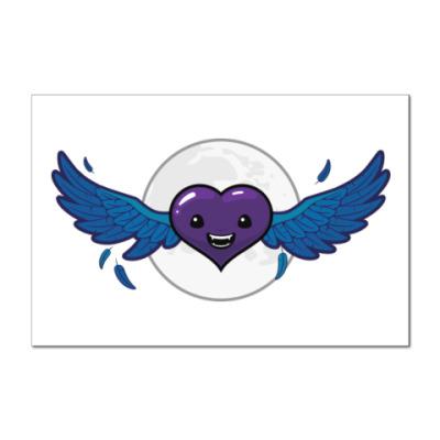 Наклейка (стикер) сердце-вампир