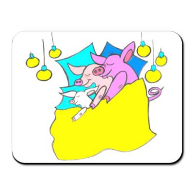 Коврик для мыши Свинни - семейный сон
