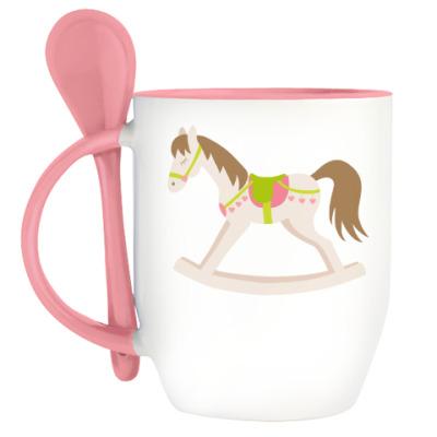Кружка с ложкой  Sweet rocking horse