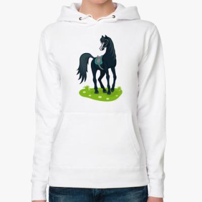 Женская толстовка худи Вороной конь