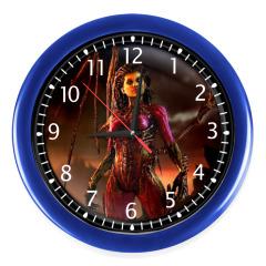 Часы, ярко-синие (белые цифры)