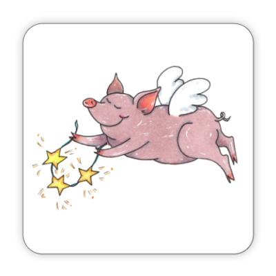 Костер (подставка под кружку) символ года свинья