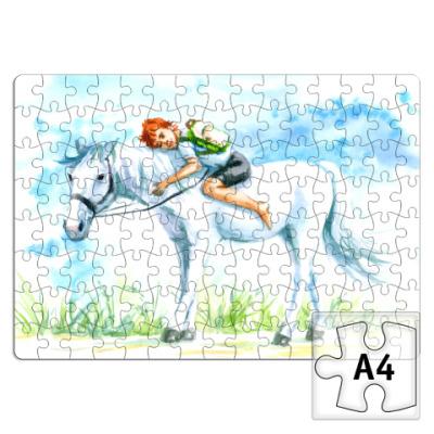 Пазл мальчик едет верхом на лошади
