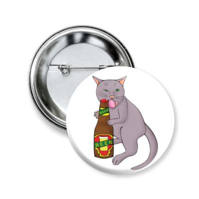Значок 50мм   'Кот и пиво'