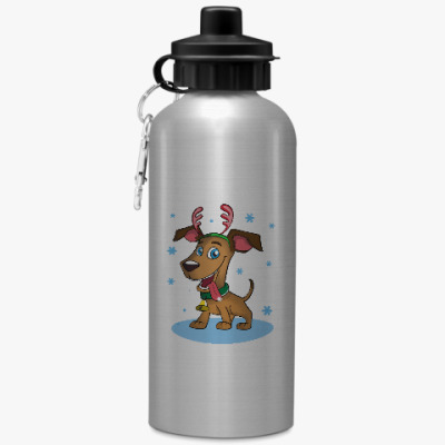 Спортивная бутылка/фляжка Пёс - оленьи рога