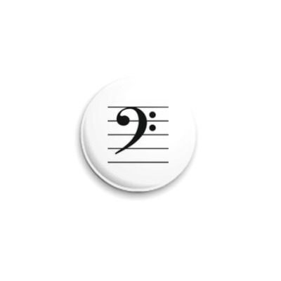 Значок 25мм  Басовый ключ