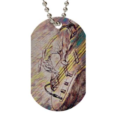 Жетон dog-tag Гитара и музыкант