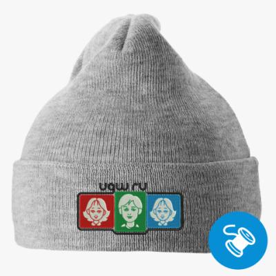 Вязаная шапка с подворотом, серая (вышивка) Вязаная шапка с подворотом, красная (вышивка)