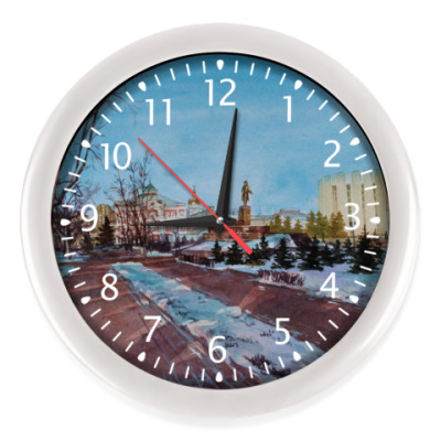 Настенные часы городской пейзаж акварелью. Саранск