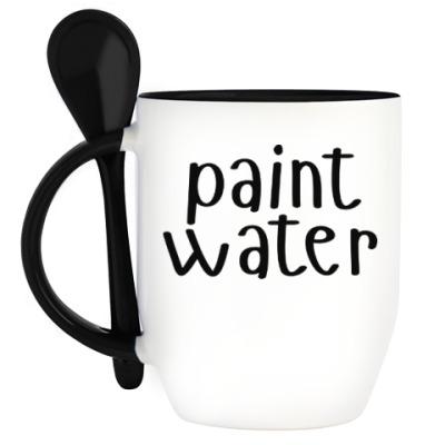 Кружка с ложкой paint water