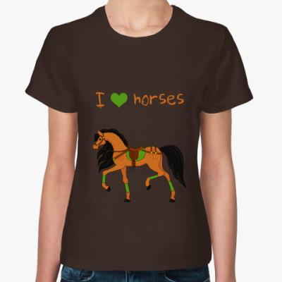 Женская футболка Люблю лошадей