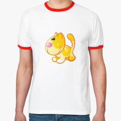 Футболка Ringer-T Рыжий кот приносит счастье