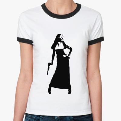 Женская футболка Ringer-T агрессивная монашка