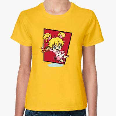 Женская футболка аниме девочка-официантка