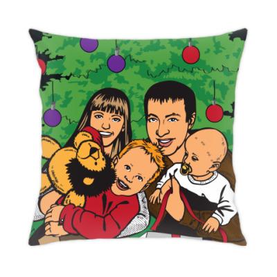 Подушка счастливая семья с детьми на новый год иллюстрация