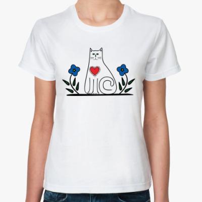 Классическая футболка Кот и сердце