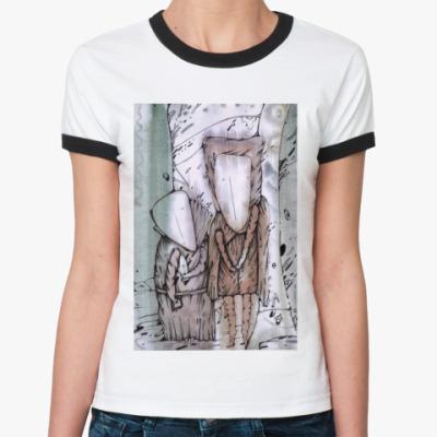 "Женская футболка Ringer-T  Жен ""Шкафный ангел"""