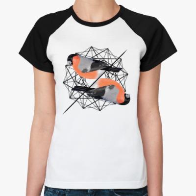 Женская футболка реглан Синички