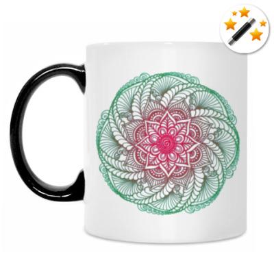 Кружка-хамелеон Цветок-мандала