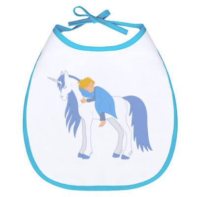 Слюнявчик Sleeping child on the unicorn