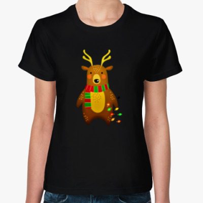 Женская футболка Новогодний Мишка