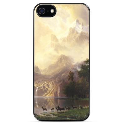 Чехол для iPhone Albert Bierstadt - Among the Sierra Nevada Mountai