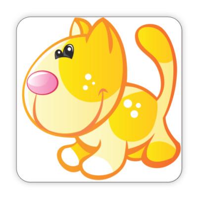 Костер (подставка под кружку) Рыжий кот приносит счастье