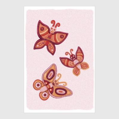 Постер Шоколадные бабочки-черепушки