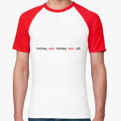 Футболка реглан Money. Sex. Cat.