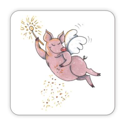 Костер (подставка под кружку) Свинка, символ года