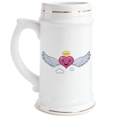 Пивная кружка Сердце-ангел