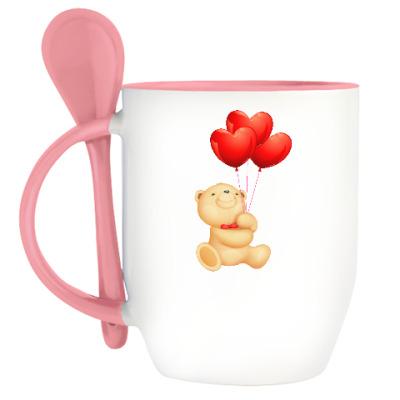 Кружка с ложкой Мишка Тедди