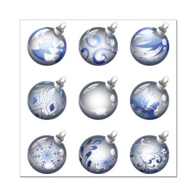 Наклейка (стикер) Новогодние шары