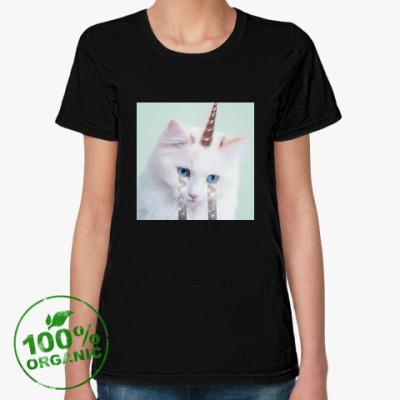 Женская футболка из органик-хлопка котик единорог
