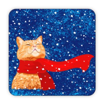 Костер (подставка под кружку) Новогодний котик в снегу
