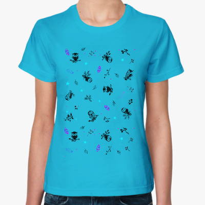 Женская футболка Совы, волшебство...