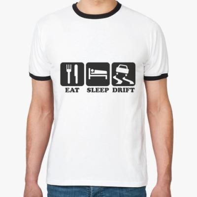 Футболка Ringer-T  Eat sleep drift