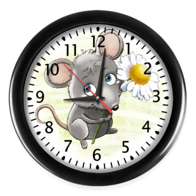 Настенные часы Мышонок с ромашкой