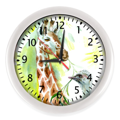 Настенные часы жираф и страус акварель
