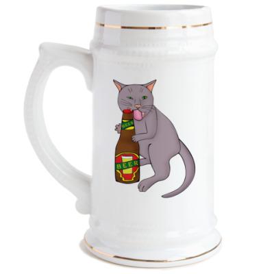 Пивная кружка Кот и пиво
