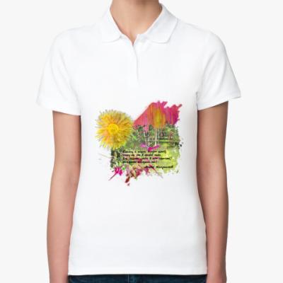 Женская рубашка поло Солнце. Зелень. Березы. Трава. Поляна. Лес.