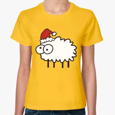Женская футболка Новогодний бараш